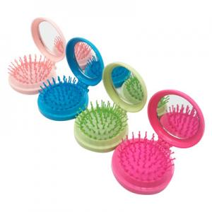 Round Candy foldable Pocket Travel Mirror hair brushes